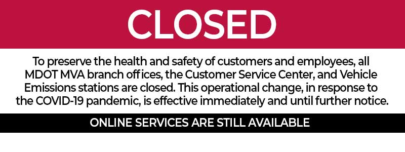 MVA Offices are Closed