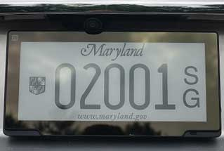 Sample electronic license plate on a state vehicle