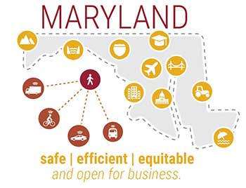 Map of Maryland with tagline, Maryland safe, efficient equitable and open for business
